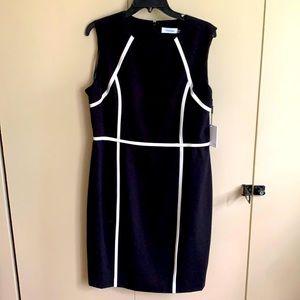 NWT Calvin Klein crêpe black/white dress